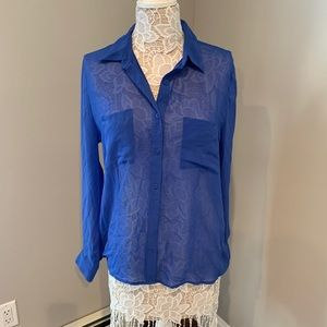 Royal blue button down blouse